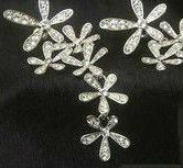 Серьги серебристые цветы tb1003