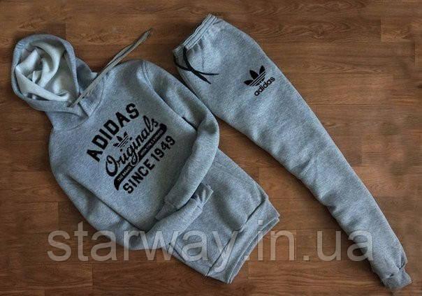 Мужской трикотажный спортивный костюм Adidas Originals с капюшоном   grey