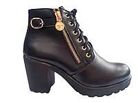 Женские удобные модные черные ботинки на каблуке, демисезон эко-кожа 37 In-Trend