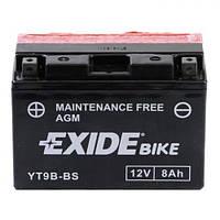 EXIDE YT9B-BS Мото аккумулятор 8 А/ч, 115 А, (+/-), 150х70х105 мм