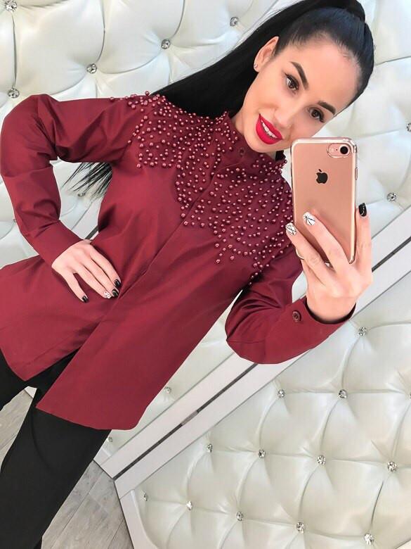 Женская рубашка котон+бисер
