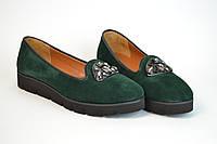 Замшевые зеленые туфли