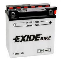 EXIDE 12N9-3B Мото аккумулятор 9 А/ч, 85 А, (-/+), 135х75х139 мм