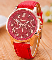 Часы Женева Geneva Римские цифры красные