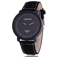 Мужские часы Rosinga черные (эко замш)