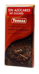 Шоколад без сахара Torras черный с дробленным какао Испания 75г, фото 2