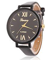 Часы наручные женские Geneva тонкий ремешок черные
