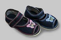 Туфли домашние детские Джинс бязь липучка Бабочка Литма