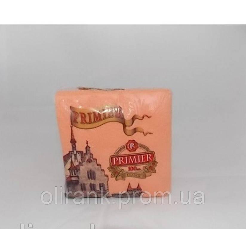 """Салфетка """"PREMIER"""" оранжевая100шт/уп (50уп/меш)"""