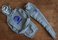 Мужской трикотажный спортивный костюм Adidas с капюшоном синее лого | grey