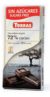 Шоколад без сахара Torras negro (черный) 72% какао Испания 75г, фото 2