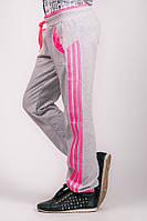 Детские спортивные штаны для девочек серые брюки трикотажные с лампасами на резинке (манжет) Украина