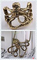 Набор бижутерии: ожерелье и кольцо Осьминог, цвет - бронза