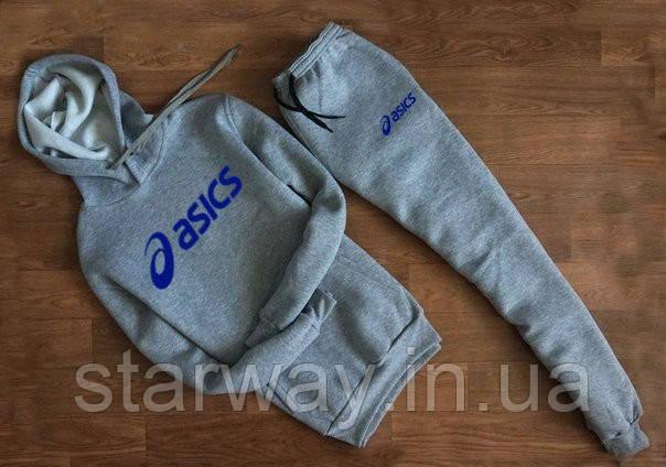 Cпортивный серый трикотажный костюм Asics с капюшоном |  blue logo
