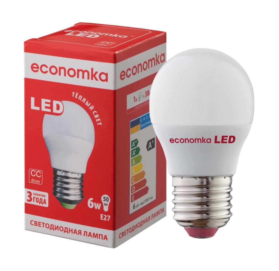 Светодиодная лампа Economka LED G45 6W E27-2800К