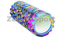 Роллер массажный (Grid Roller) для Йоги синий-фиолетовый