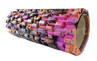 Роллер массажный (Grid Roller) для Йоги фиолетово-черный