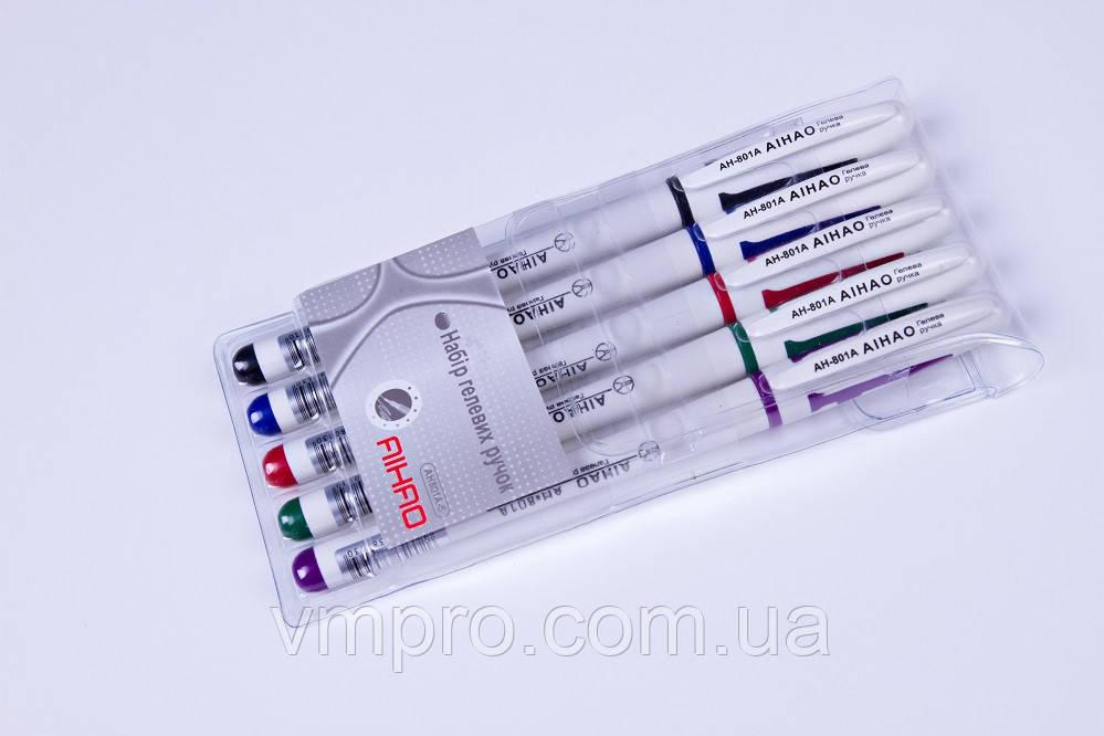 Набір гелевих ручок AIHAO AH-801-5.різні кольори 5 шт.