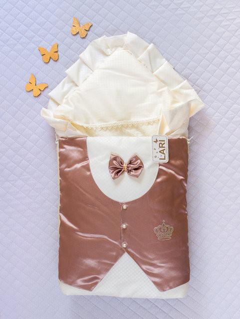 """Теплый конверт-одеяло для мальчика на выписку, """"Джентльмен"""" коричневый (зима)"""