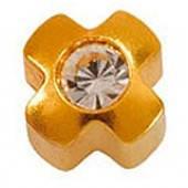 R-503/4 Крестик с камнем - Серьги для прокола ушей