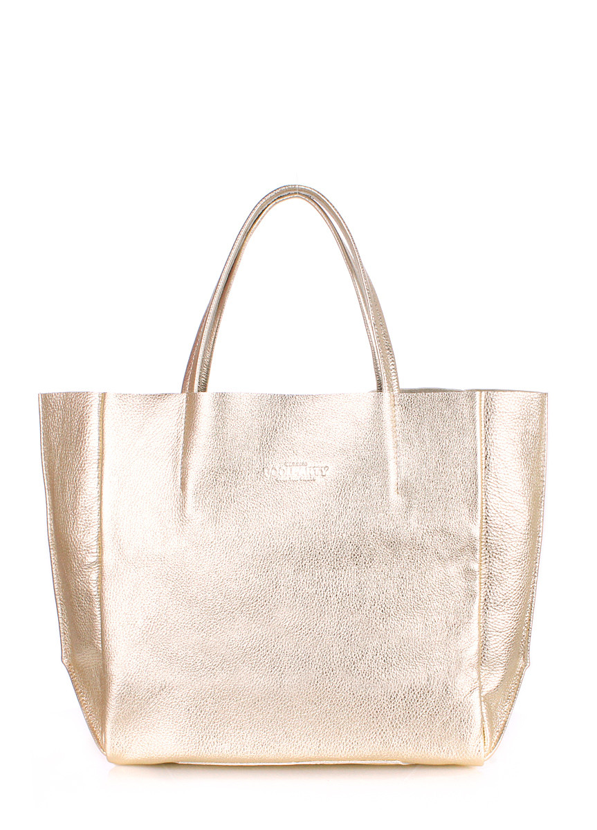 Кожаная сумка POOLPARTY Soho золотистая