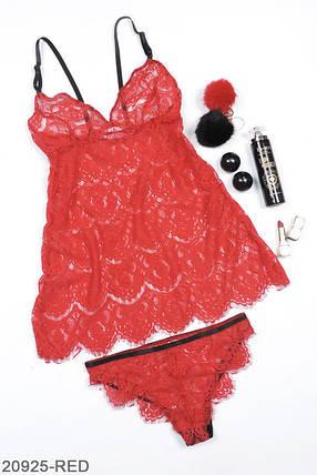 Гипюровый комплект нижнего белья красный, фото 2