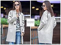 Женское пальто демисезонное цвет светло серый
