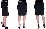 Женская юбка большого размера. Цвет черный. Размер: 48, 50, 52, 54.  Код 233