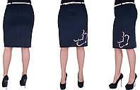 Женская юбка с розовым узором. Цвет темно-синий. Размер: 48, 50, 52, 54.  Код 214