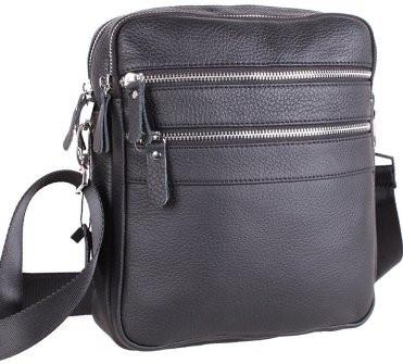 Шкіряна чоловіча сумка 20128, чорна