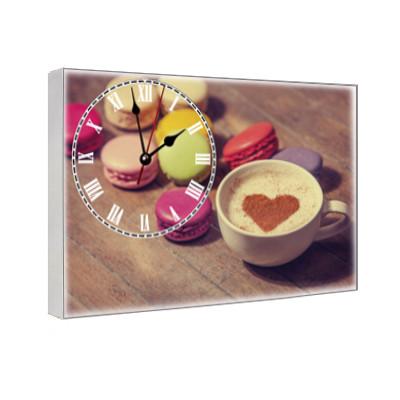 Кухонные часы на холсте с принтом Кофе 29х41 см