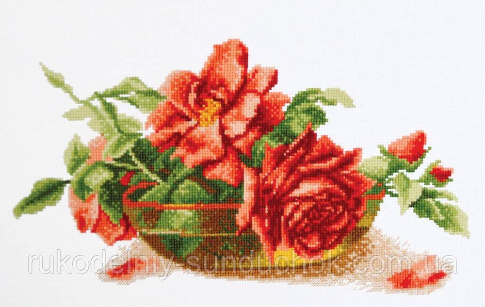 "Набор для вышивания крестом ТМ ""Повітруля"" Розы в вазе  П6 025"