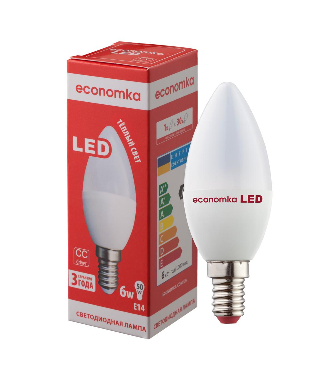Светодиодная лампа Economka LED CN 6W E14-2800 К
