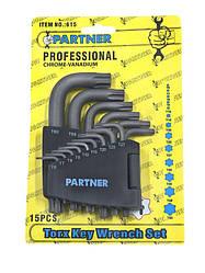 Набор ключей TORX Г-образных PARTNER PA-615 15пр.