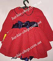 Красное платье в черный горошек с бантиком для девочки 0185