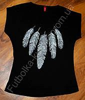 Женская футболка большие размеры перя
