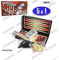 """Шахматы 9841 А, набор настольных игр """"5 в 1"""", магнитные, шахматы, шашки, домино, нарды, карты, в коробке"""