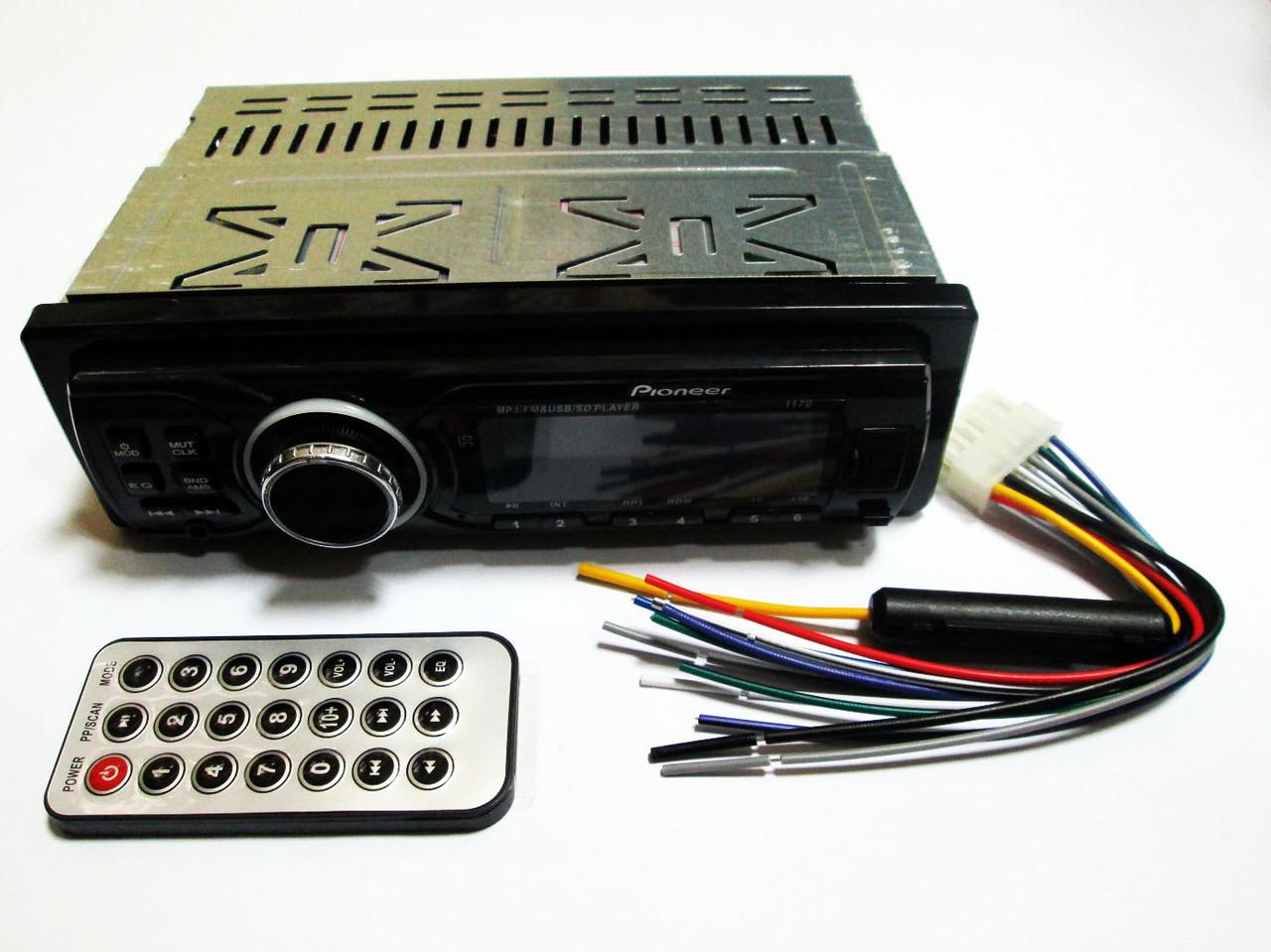 Автомагнитола Pioneer 1170 ISO  MP3+FM+USB+SD+AUX+съемная панель