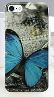 Чехол силиконовый бампер для Iphone 5/5S с рисунком синяя бабочка с жемчугом