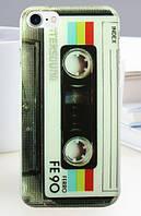 Чехол силиконовый бампер для Iphone 5/5S с рисунком кассета