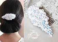 """Свадебный гребень для волос """"Бело-голубые фрезии"""""""