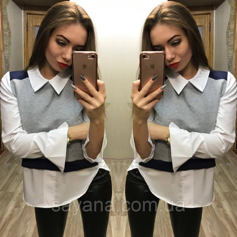Женская удлиненная хлопковая рубашка. Фк-4-0217