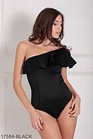 Женское боди на одно плечо черное