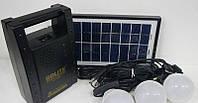 Солнечная домашняя аккумуляторная система GD-8012, FM-Radio , 3*3W LED 4,7м, 6500-7000К, 3*220V розетки, 2*0,5А USB, 18V 10W Solar Panel