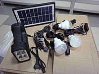 Солнечная домашняя аккумуляторная система GD-8017, 1W+6SMD диода на фонарике + 3*3W лампочки 4,7м, 6500-7000К, 9V 3.5W Solar Panel, Зарядка - 13-15