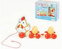 Деревянная каталочка 2012-161 Курочка с яйцами