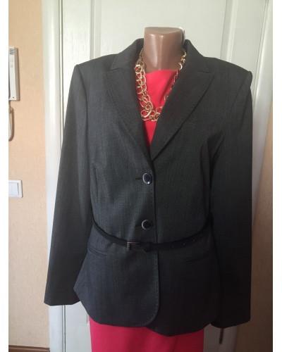 Піджак жіночий сірий з шкіряним поясом Comma