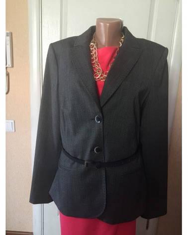 Піджак жіночий сірий з шкіряним поясом Comma, фото 2