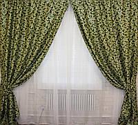 Комплект готовых штор  блэкаут, двусторонний. Цвет зеленый  066ш (А) 1м.