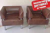 Кресло из кожзама для офиса Тонус коричневый, фото 1